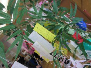 笹の葉っぱにつけられた短冊がたくさん写っている写真