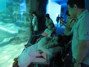 水族館内で、利用者さんとご家族の皆さんが大きな水槽を前にしている写真