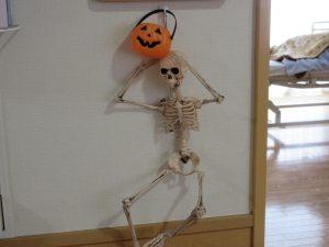 ガイコツの人形のあたまにオレンジのかぼちゃの帽子がのっている様子