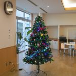 大きなクリスマスツリーが交流ホールに置かれている