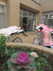 中庭の花壇のそばにお二人の利用者さんが車椅子に乗って横になっている様子
