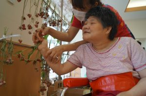 利用者さんがスタッフと一緒に千日紅の花を干している様子